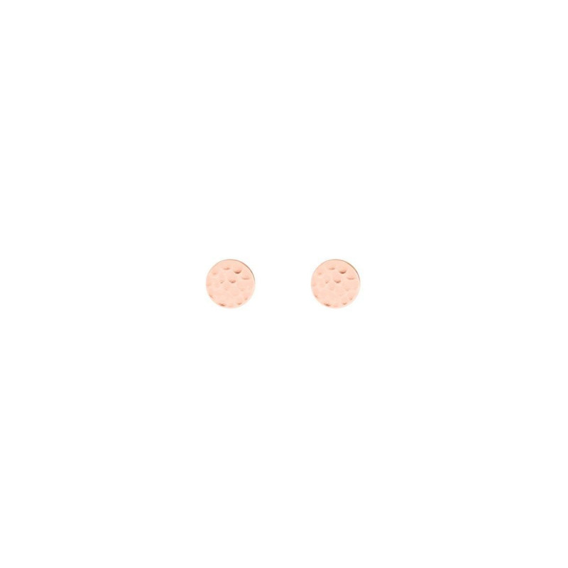 Rose gold-plated hammered & brushed stud earrings