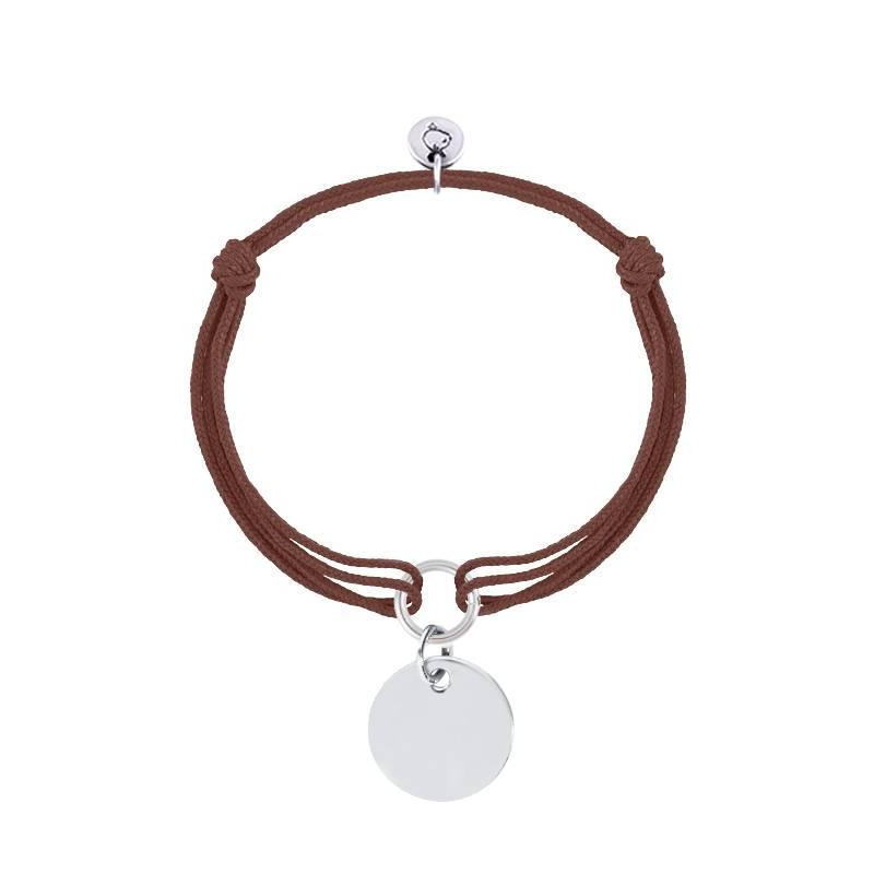 Tie bracelet with flat 925 silver medal