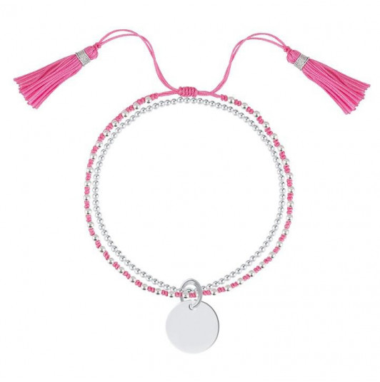 Tie and beads bracelets with medal