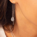 925 silver rod & textured medals chain earrings