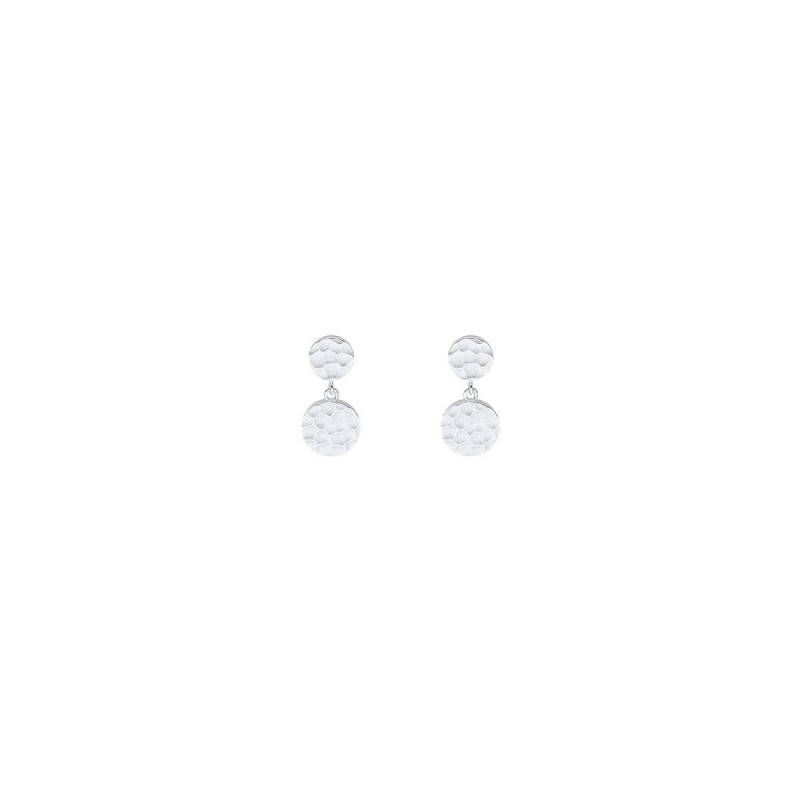925 Silver stud earrings with hammered medals