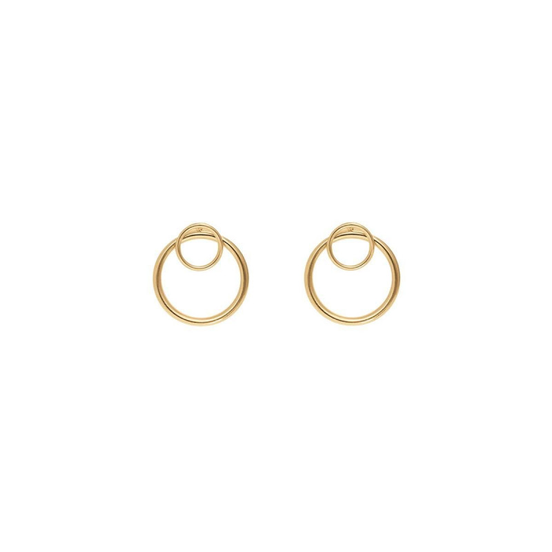 Gold-plated overlaid circle earrings