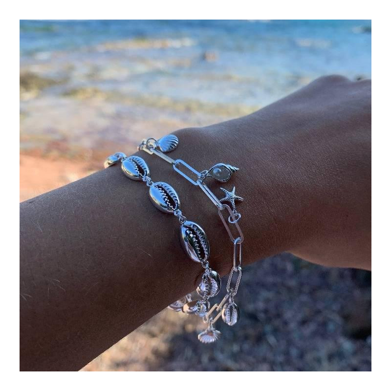 925 silver chain bracelet with hanging shells