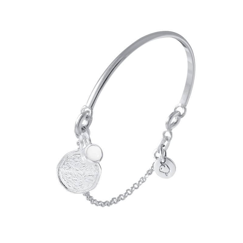 925 Silver half bangle and chain bracelet & white turquoise Naïa medal