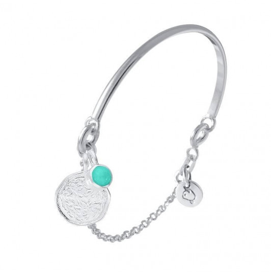 Half bangle and chain bracelet & amazonite Naïa medal