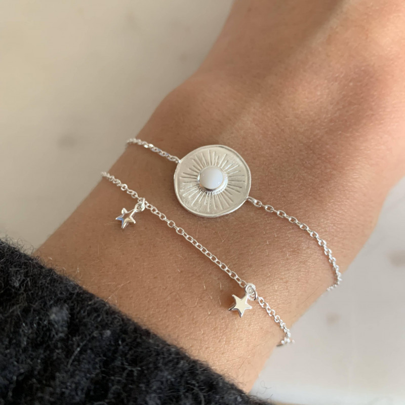 925 Silver chain bracelet with 5 small hanging stars
