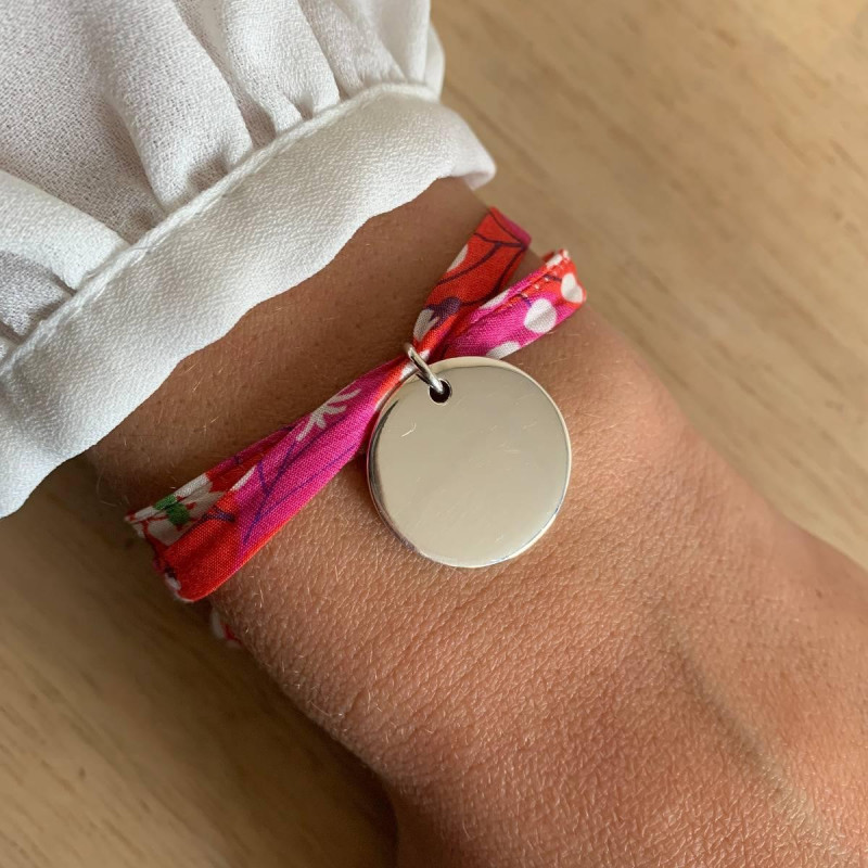 Liberty bracelet with 925 silver large flat medal