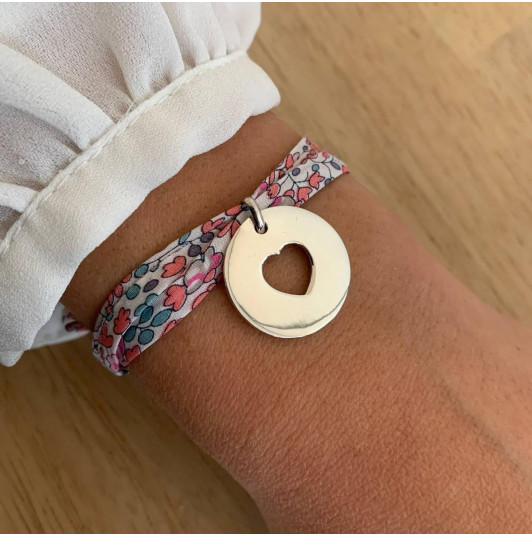 Liberty bracelet with 925 silver large hollowed  heart medal