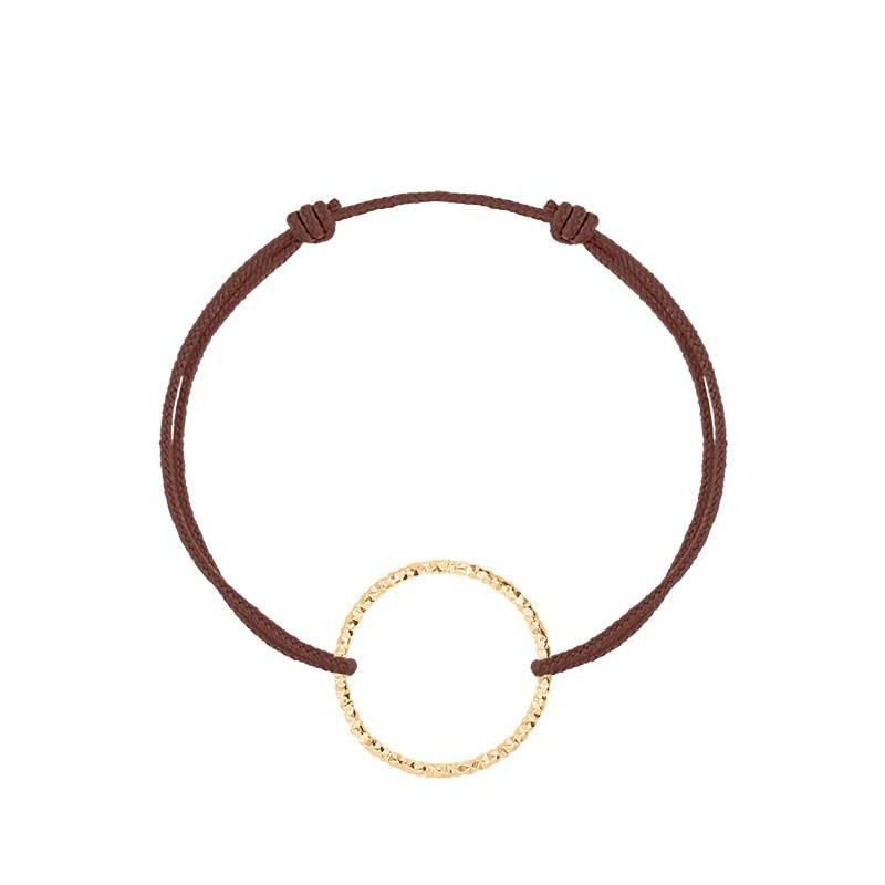 Gold-plated faceted ring tie bracelet