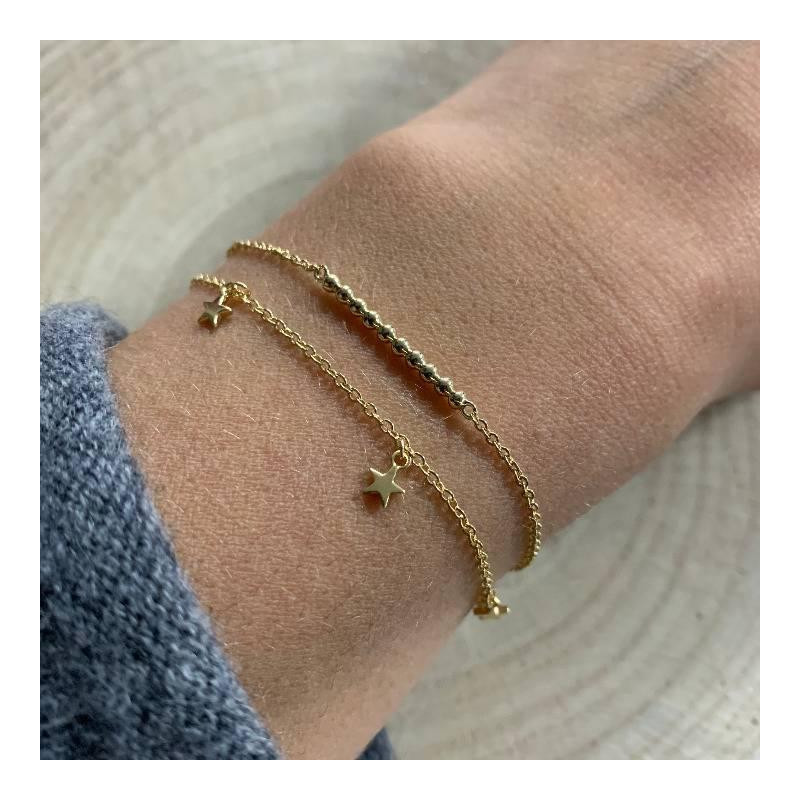 Gold-plated chain bracelet with 5 small hanging stars