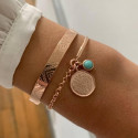 Rose gold-plated half bangle and chain bracelet & amazonite Naïa medal