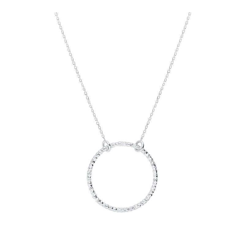 925 silver faceted circle chain necklace