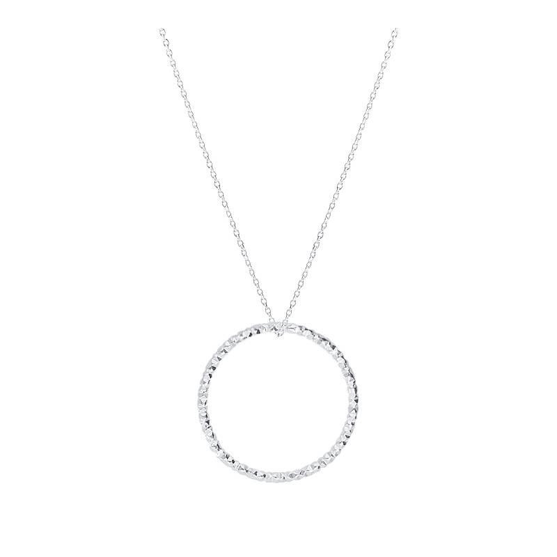 925 silver faceted ring chain necklace