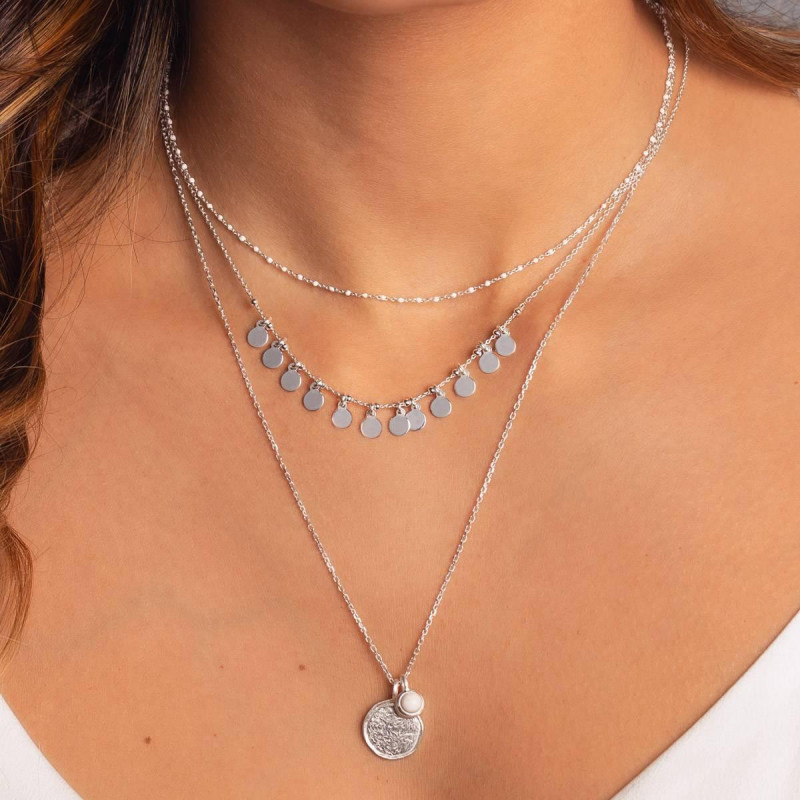 925 Silver chain necklace with 12 mini medals