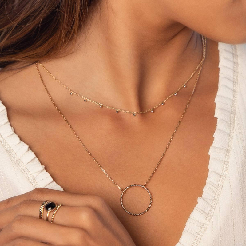 Gold-plated faceted circle chain necklace