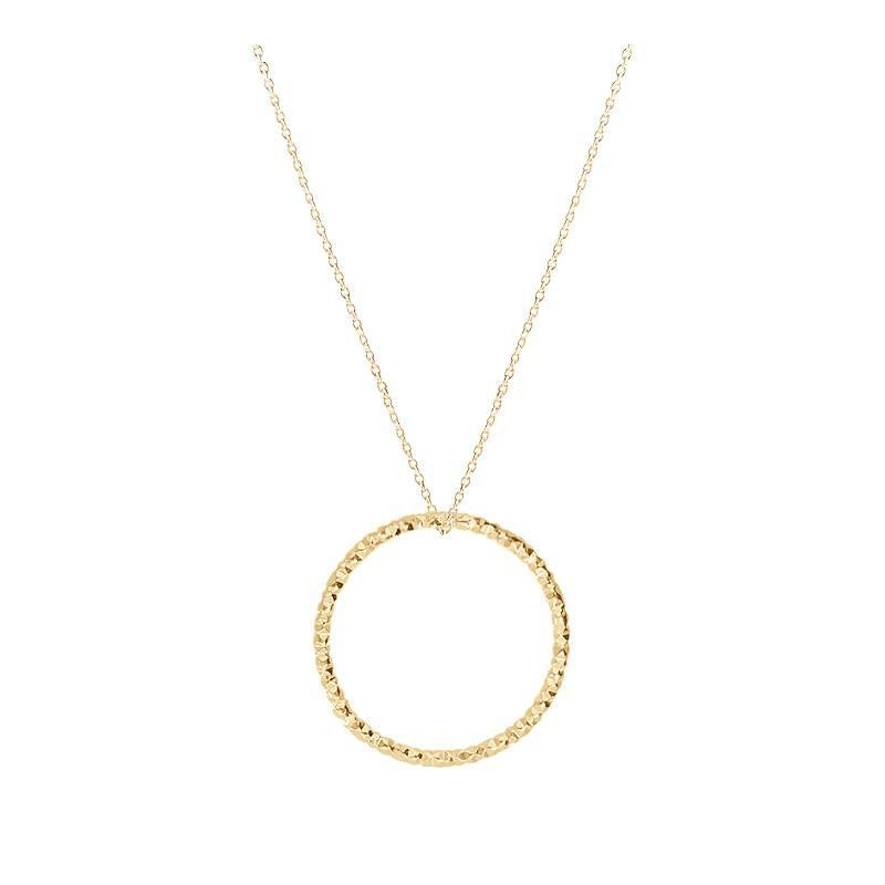 Gold-plated faceted ring chain necklace