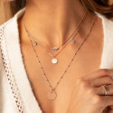 Rose-gold plated beaded chain necklace with medal