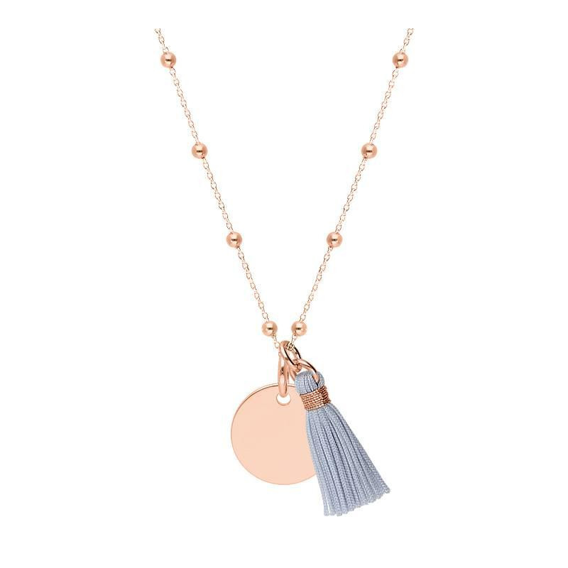 Rose-gold plated beaded chain necklace with medal & pompom