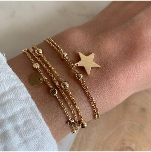 Gold-plated three-row and star set