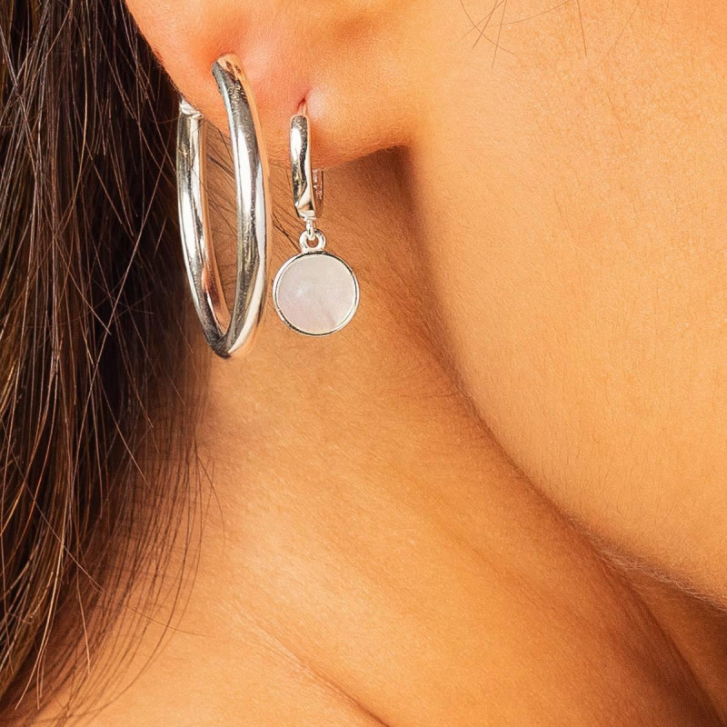925 Silver 3 cm thick hoop earrings
