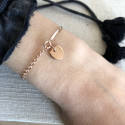 Rose gold-plated half bangle and chain bracelet with heart medal