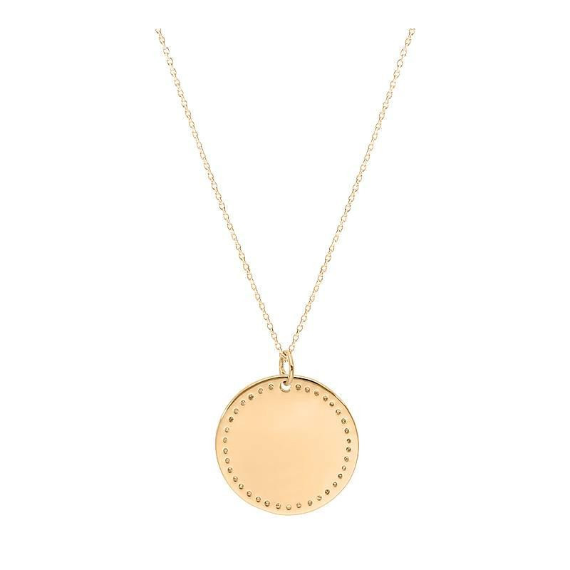 Gold-plated dotted medal chain necklace