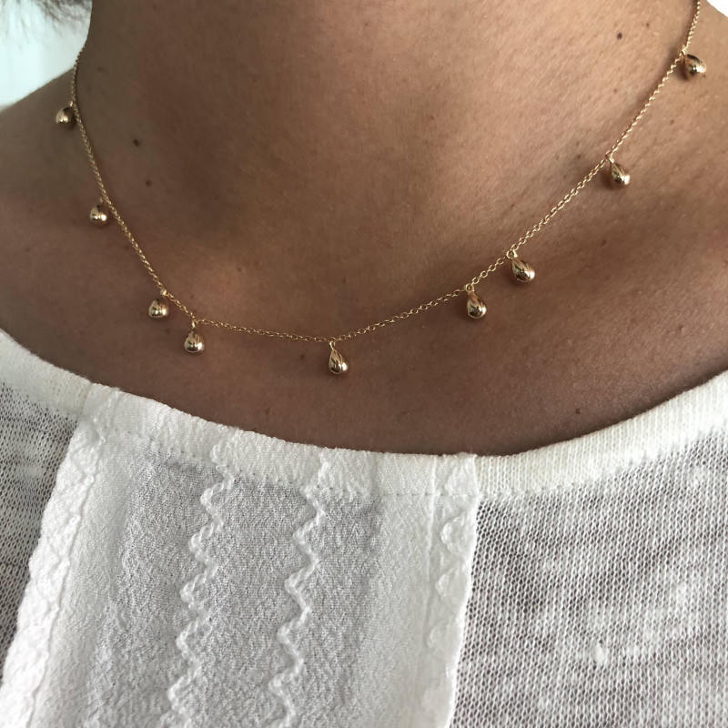 Gold-plated 9 drops chain necklace