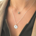 Labradorite and initial letter necklace duo