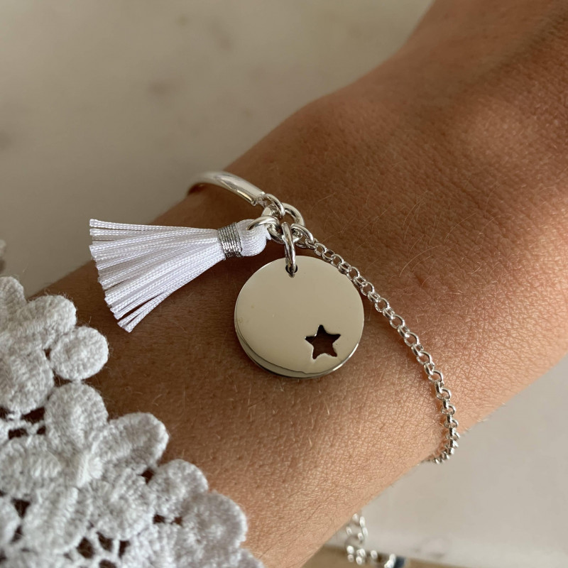 925 silver half bangle and chain bracelet with small perforated star medal and pompom