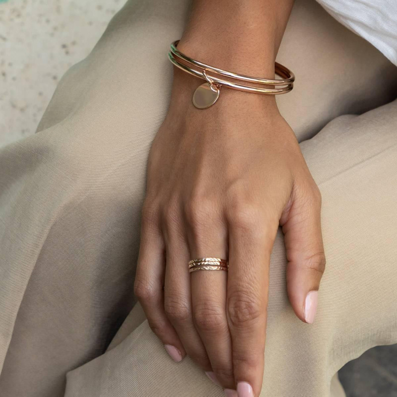 Rose gold-plated chiseled band ring