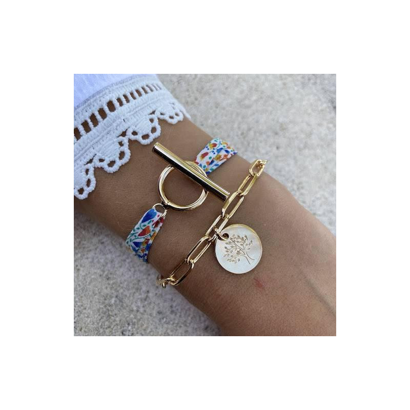 Liberty bracelet with gold-plated T-toggle