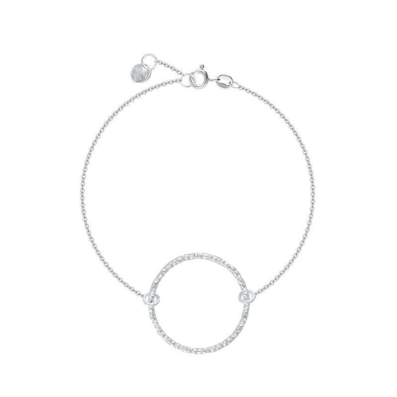 925 silver faceted ring chain bracelet