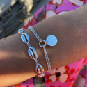 925 Silver two-row chain bracelet with medal