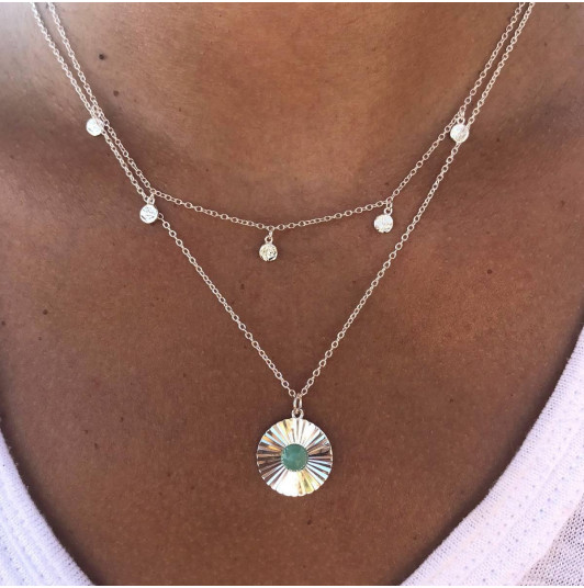 Textured & amazonite necklace set