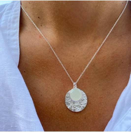 Maya medal & moonstone chain necklace