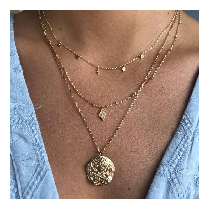 Gold-plated Lozenges necklaces duo