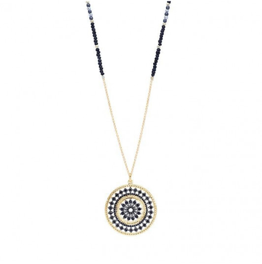 Long necklace with spinels row and arabesque