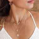 Rose gold-plated oval star pendant chain necklace