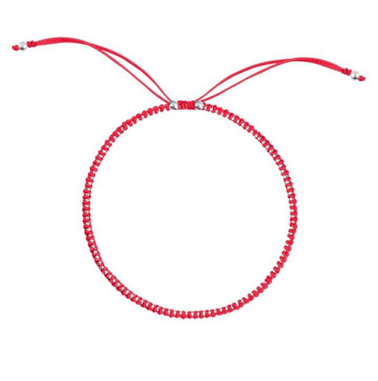 Light red braided with small beads bracelet