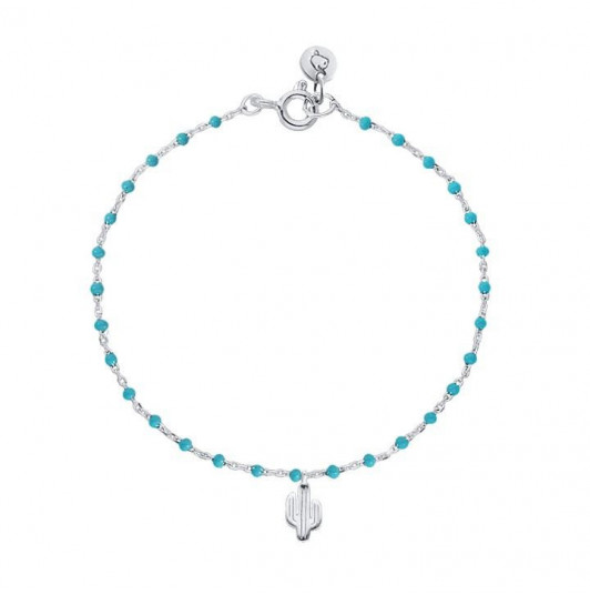 Chain bracelet with small turquoises beads and cactus