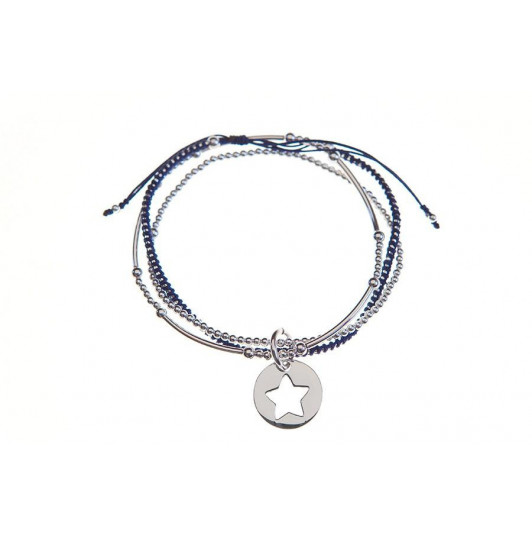 Triple row beads bracelet and star medal
