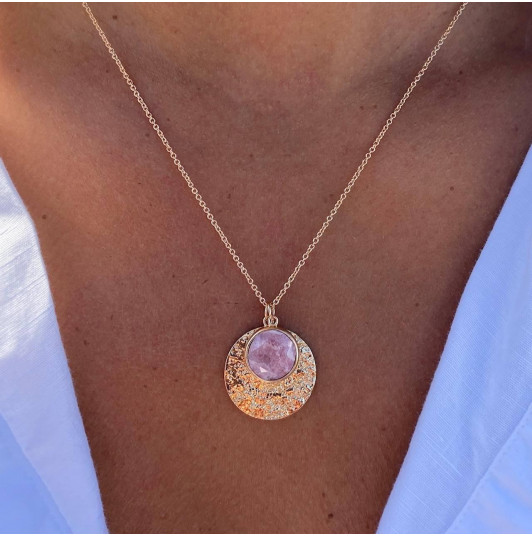 Maya medal & rhodonite chain necklace