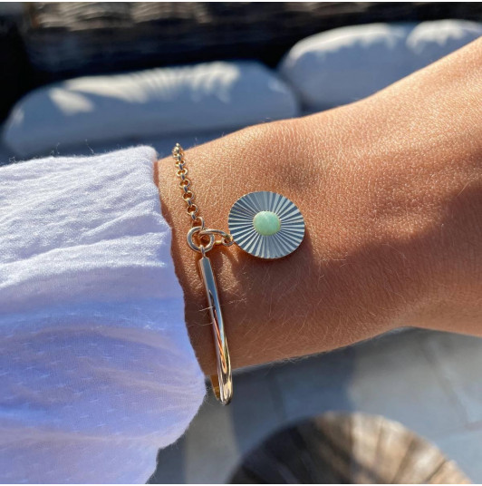 Half bangle and chain bracelet with striated amazonite medal