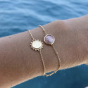 Gold-plated Rhodonite & sun bracelet set