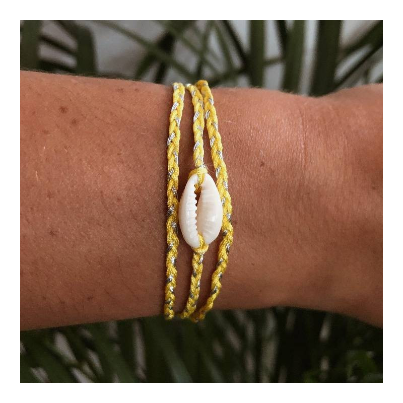 925 Silver yellow braided tie bracelet & shell