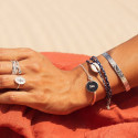 925 silver turquoise blue braided tie bracelet & shell