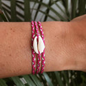 925 braided tie bracelet & shell