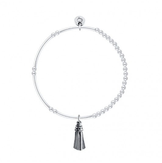 Silver 3mm beads and tubes bracelet with silver pompon