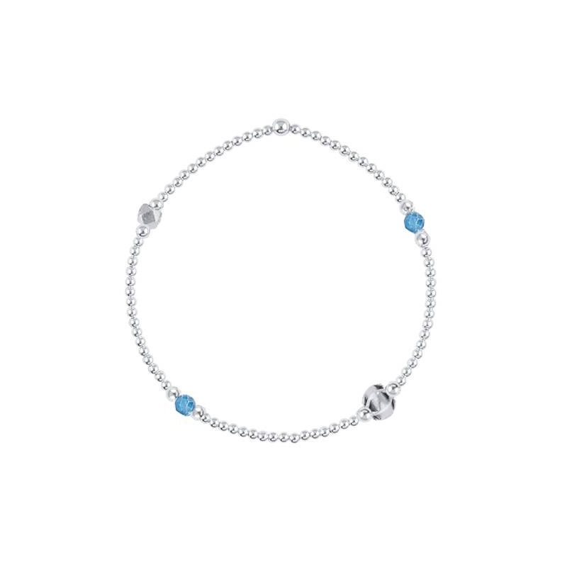 925 Silver beads bracelet and apatite gemstones