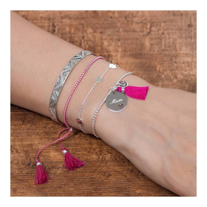 Fuchsia braided bracelet with small 925 silver beads and pompoms